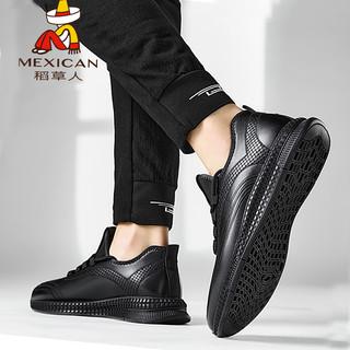 Mexican 稻草人 男鞋2020新款秋冬季皮鞋男韩版百搭男士运动休闲鞋子男潮鞋