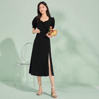 La Chapelle 拉夏贝尔 旗下新款小心机开叉高腰连衣裙女式方领修身中长款裙子