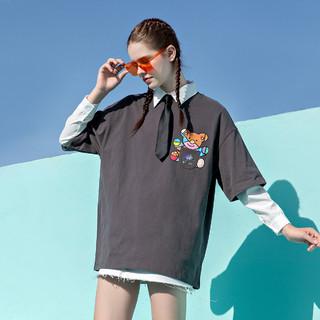 Kappa 卡帕 21年夏季新款小熊系列情侣圆领舒适透气运动T恤短袖休闲T恤