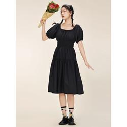 A21 女装白色连衣裙夏季新款短袖方领收腰a字裙甜美气质黑色长裙新疆棉 黑色 XS