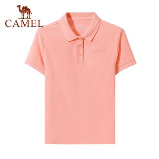 CAMEL 骆驼 polo衫运动休闲T恤男女短袖翻领运动上衣2021夏季白色半袖宽松休闲网球T恤 C0S1WV613-2,粉色,女 L