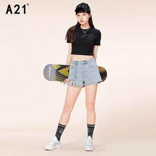 A21 女装紧身短袖t恤夏季新款辣妹短款显瘦打底衫上衣内搭网红T恤新疆棉 黑色 S