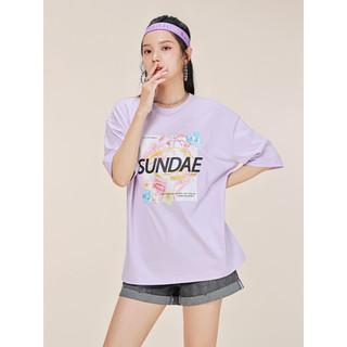 A21 女装半袖t恤宽松圆领文艺体恤短袖印花设计感上衣夏季新款潮新疆棉 粉紫 XS