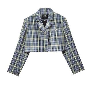 A21 女装格子条纹开衫外套薄款衣服女2021年夏秋季新款长袖外搭新疆棉 蓝色上衣外套 S 上衣外套