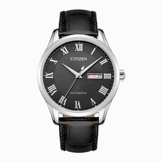 CITIZEN 西铁城 带双历显示机械男士皮表手表 NH8360-12H