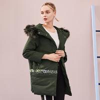 ERAL 艾莱依 冬装新款时尚保暖羽绒服女中长款韩版修身潮外套