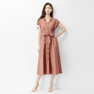 lativ 诚衣 女短袖排扣连衣裙OL连身裙中长洋装腰带夏季新款女装