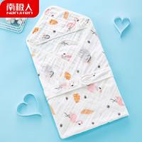 Nan ji ren 南极人 婴儿抱被夏季睡袋6层纱布包毯初生包被子宝宝用品产房襁褓包巾 夏凉被 火烈鸟