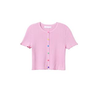 A21 女装修身圆领短袖彩虹纽扣泫雅风开衫短款针织衫女夏季新款新疆棉 米白 XS