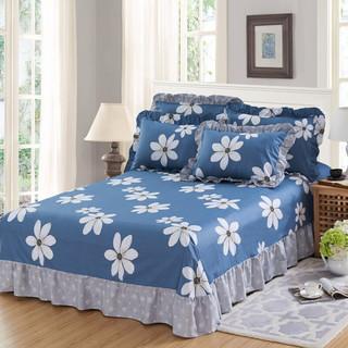 懒虫起床 全棉床裙式花边床单 纯棉1.5米1.8米单双人床上用品印花被单 250*250cm