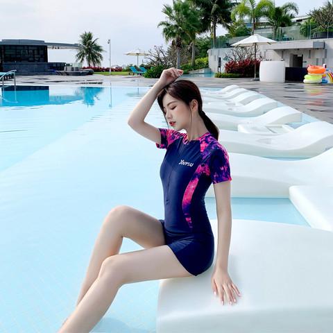 力泳 泳衣女夏分体泳装长袖游泳衣短裙