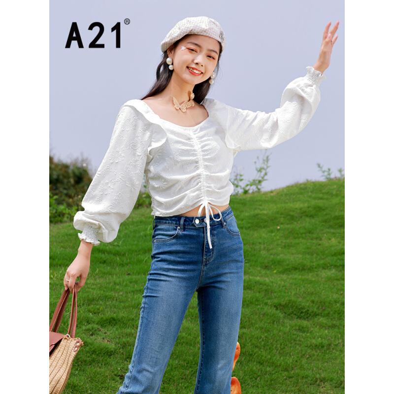 A21 F412210044 女士V领设计感衬衣