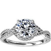 Blue Nile 扭纹光环钻石订婚戒指(仅戒托)
