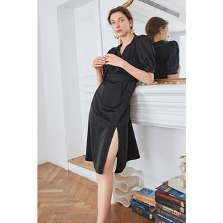 连衣裙2021新款女法式v领裙子夏季气质黑色连衣裙小黑裙长裙