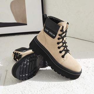 JANE HARLOW 三十新款撞色拼接户外登山靴英伦风休闲马丁靴女靴短靴