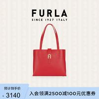 FURLA 芙拉 SOFIA 2021春夏新品女式荔枝纹中号手提托特包 红色