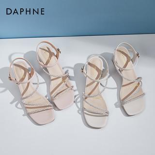 DAPHNE 达芙妮 罗马凉鞋2021年新款女夏中跟粗跟水钻百搭一字扣带气质女鞋