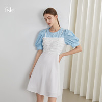 FANSILANEN 范思蓝恩 2021年夏季新款韩系假两件连衣裙女高腰修身显瘦中长裙子 蓝白拼色 XS