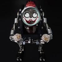 MARK FAIRWHALE 马克华菲 FAIRWHALE)新款小丑手表男士石英表个性防水潮流学生男表FW-5600-2 银壳白面红皮