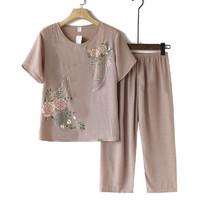 2021新款中老年人女装T恤夏季仿棉麻妈妈装两件装T恤裤子 卡其套装 2XL(建议105-120斤)