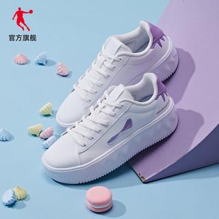 QIAODAN 乔丹 板鞋2021夏季新款小白鞋潮流雪糕底休闲鞋百搭运动鞋增高女鞋