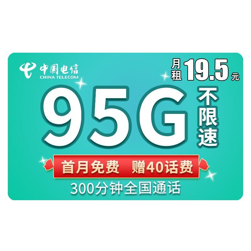 CHINA TELECOM 中国电信 流量卡彗星卡19.5(95G流量+300通话)首月免费