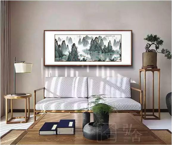 弘舍 白雪石《漓江千峰秀》158×70cm 新中式客厅装饰画 山水画国画办公室挂画壁画
