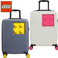 LEGO 乐高 拉杆箱儿童20英寸登机箱万向轮旅行箱ABS PC成人轻便行李箱TSA密码硬箱学生男女积木灰黄色 20152