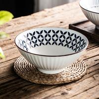 瓷魂 拉面碗日式8英寸 蓝印树叶