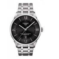 TISSOT 天梭 杜鲁尔男表 皮带黑表盘透底日历80机芯自动机械手表腕表