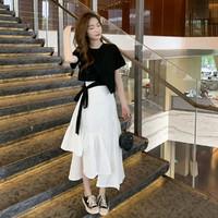 Bejirog 北极绒 春夏时尚减龄系带棉料上衣不规则+中长半身裙子女