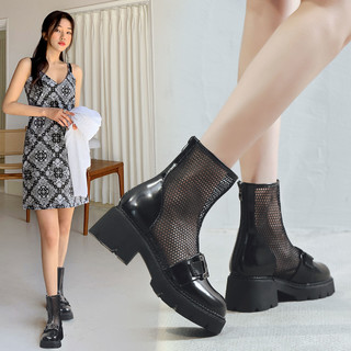 medd 名典 真牛皮粗跟马丁靴女夏季新款女靴短靴女切尔西靴凉鞋网面透气凉靴