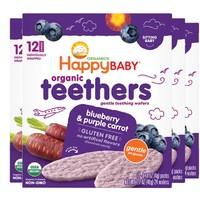 HappyBABY 禧贝 婴儿磨牙饼干 蓝莓紫胡萝卜味 48g*4袋