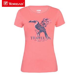 TOREAD 探路者 短袖T恤女款 春夏户外女弹力吸湿排汗印花短袖T恤TAJG8...