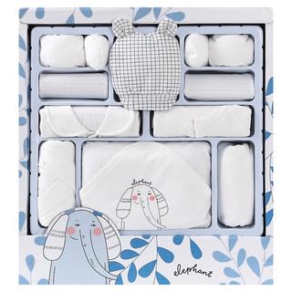BANJVALL 班杰威尔 婴儿衣服春夏季薄款新生儿礼盒纯棉宝宝内衣套装满月用品 四季珍迪象白色 0-6个月