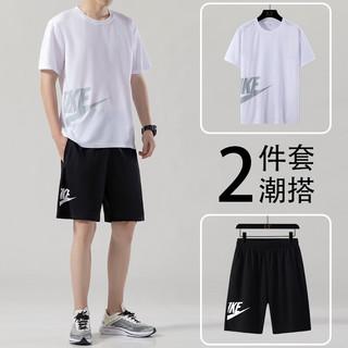 KRXSJO 运动套装男士健身服夏季运动跑步训练速干衣足球服吸汗透气羽毛球服短裤短袖运动服
