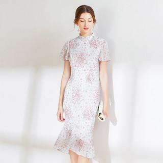 经典故事 2021夏季新款时尚立领清新碎花裙子修身不规则裙摆印花连衣裙