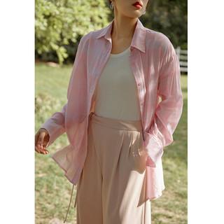 DUSHU 独束 大码女装轻薄棉布格纹衬衫女2021夏季新品胖mm休闲防晒衬衣外套 粉色 M