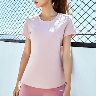 LI-NING 李宁 新品短袖女夏季瑜伽舒适T恤女装跑步透气上衣训练健身女式T恤