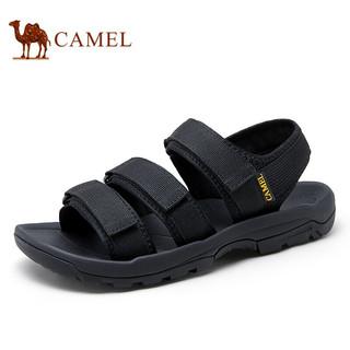 CAMEL 骆驼 时尚清凉便捷魔术贴户外沙滩休闲凉鞋男 A122162902 黑色 41