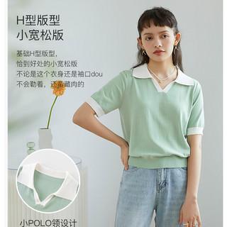 ZIQIAO 自巧 小个子针织短袖T恤薄款女POLO领2021新款春夏修身上衣打底衫 绿色 S