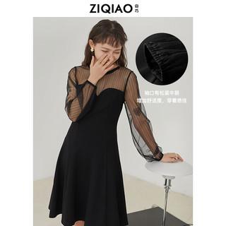 ZIQIAO 自巧 小个子法式连衣裙春装2021年新款女赫本风小黑裙蕾丝拼接裙子 黑色 M