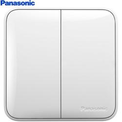 Panasonic 松下 开关插座面板 二开单控开关面板 双开单控墙壁开关 格彩系列86型 WPC503 白色