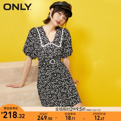 ONLY 夏季新款小雏菊碎花赫本风收腰设计感法式雪纺连衣裙女