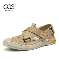 法国CCE夏季新款真皮飞织包头沙滩鞋男户外防滑软底休闲凉鞋男