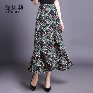 半身裙女中长款春夏新款雪纺印花不规则长裙荷叶边裙子显瘦鱼尾裙