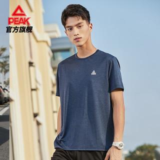 PEAK 匹克 圆领短袖T恤男士2021新款吸湿排汗透气舒适跑步运动休闲上衣