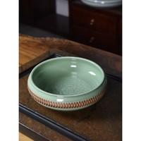 龙泉青瓷 艺术瓷 跳刀工艺牡丹圆口洗 梅子青 21.7cm x 7.7cm