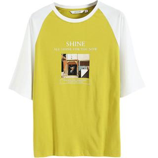 JEANSWEST 真维斯 短袖T恤女 夏季女士圆领条纹微弹休闲简约修身打底衫上衣