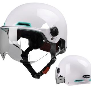 YEMA 野马 头盔 珍珠白 透明短镜